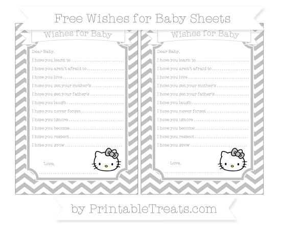 Free Silver Chevron Hello Kitty Wishes for Baby Sheets