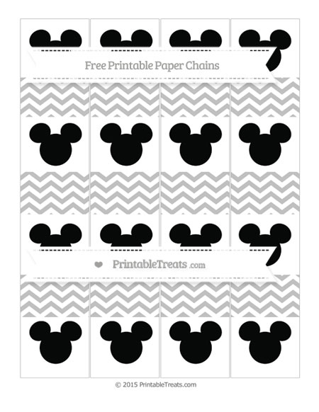Free Silver Chevron Mickey Mouse Paper Chains