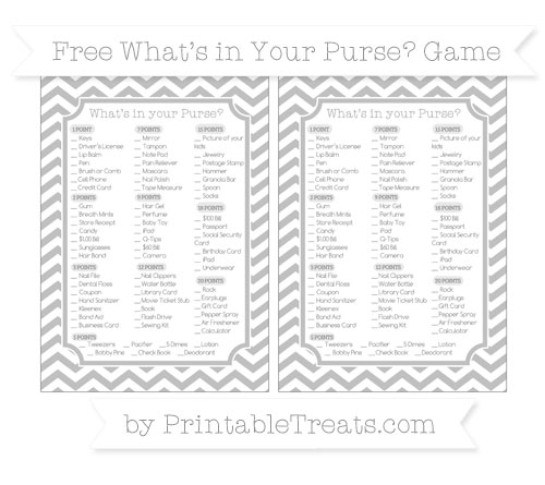 Free Silver Chevron What's in Your Purse Baby Shower Game