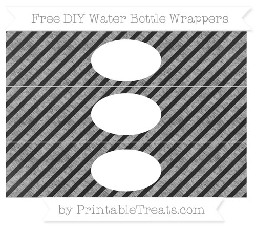 Free Silver Diagonal Striped Chalk Style DIY Water Bottle Wrappers