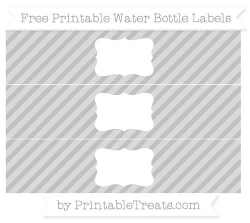 Free Silver Diagonal Striped Water Bottle Labels