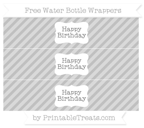 Free Silver Diagonal Striped Happy Birhtday Water Bottle Wrappers