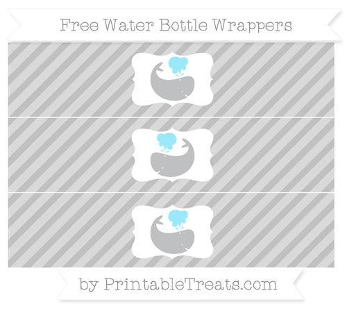 Free Silver Diagonal Striped Whale Water Bottle Wrappers