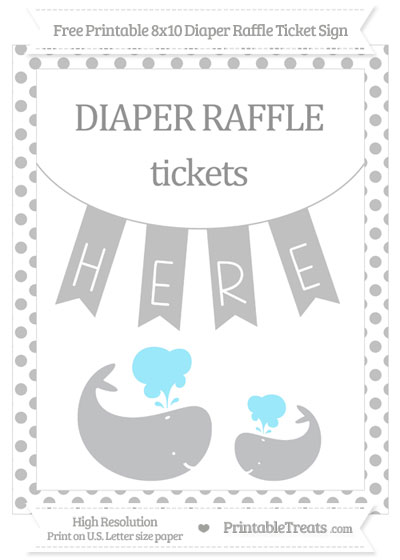 Free Silver Dotted Baby Whale 8x10 Diaper Raffle Ticket Sign