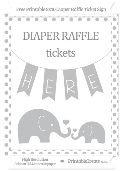 Free Silver Dotted Elephant 8x10 Diaper Raffle Ticket Sign