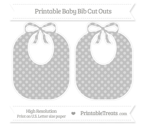 Free Silver Dotted Pattern Large Baby Bib Cut Outs