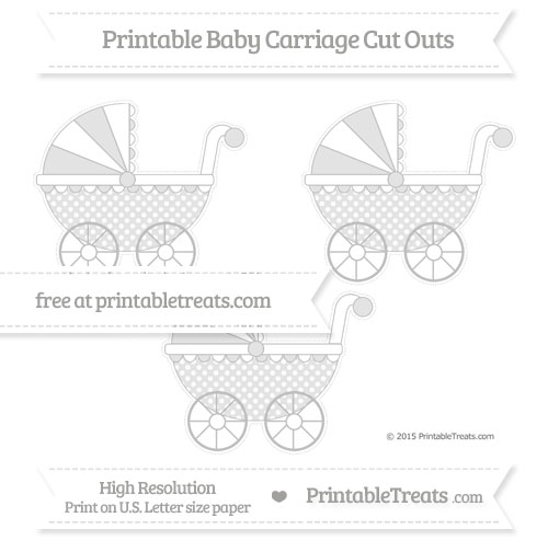 Free Silver Dotted Pattern Medium Baby Carriage Cut Outs