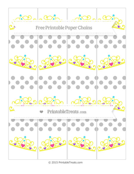 Free Silver Dotted Pattern Princess Tiara Paper Chains