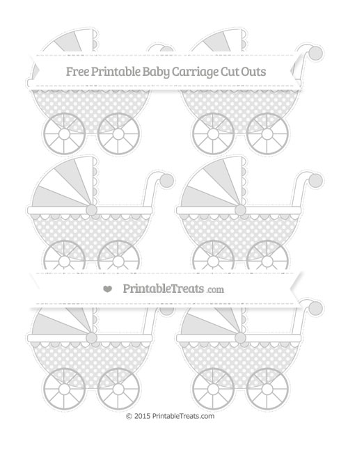 Free Silver Dotted Pattern Small Baby Carriage Cut Outs