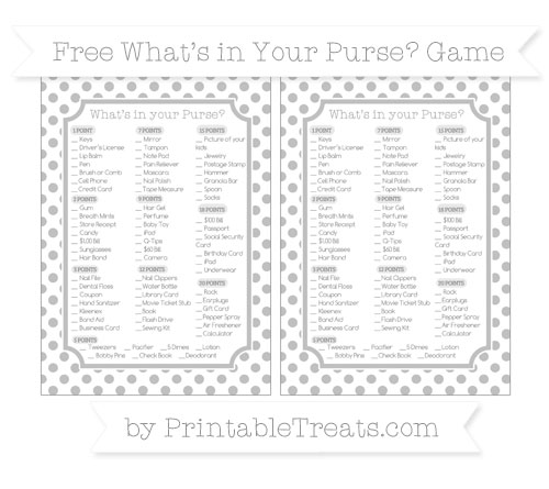 Free Silver Dotted Pattern What's in Your Purse Baby Shower Game