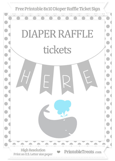 Free Silver Dotted Whale 8x10 Diaper Raffle Ticket Sign