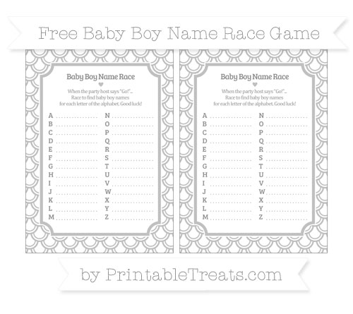 Free Silver Fish Scale Pattern Baby Boy Name Race Game