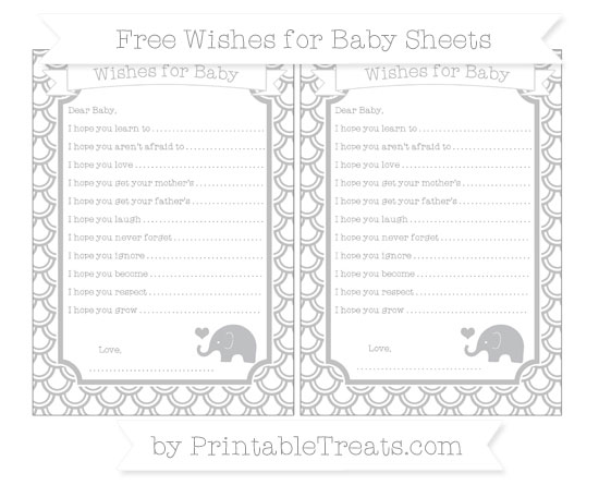 Free Silver Fish Scale Pattern Baby Elephant Wishes for Baby Sheets
