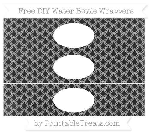 Free Silver Fish Scale Pattern Chalk Style DIY Water Bottle Wrappers
