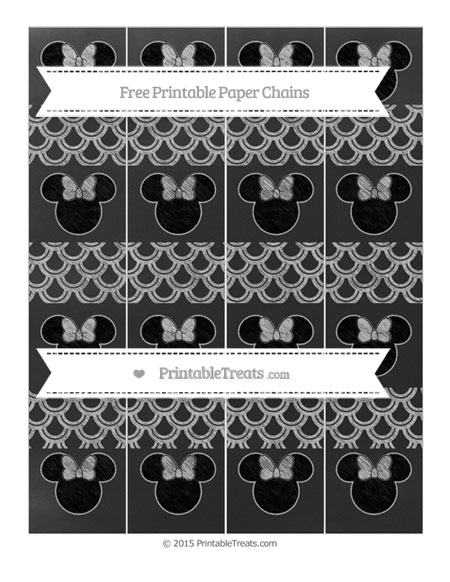 Free Silver Fish Scale Pattern Chalk Style Minnie Mouse Paper Chains