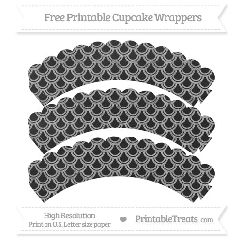 Free Silver Fish Scale Pattern Chalk Style Scalloped Cupcake Wrappers