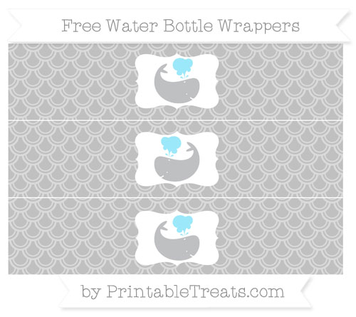 Free Silver Fish Scale Pattern Whale Water Bottle Wrappers