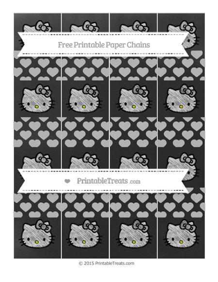 Free Silver Heart Pattern Chalk Style Hello Kitty Paper Chains