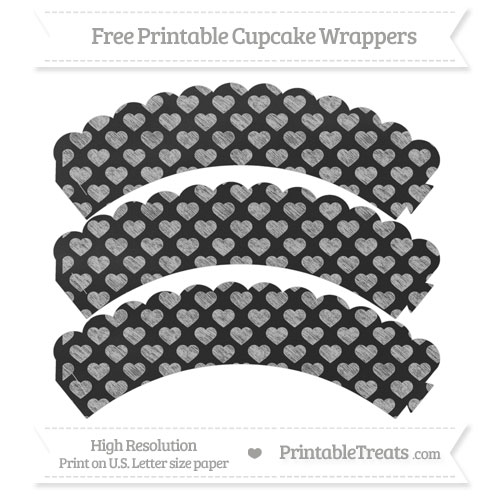 Free Silver Heart Pattern Chalk Style Scalloped Cupcake Wrappers
