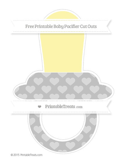 Free Silver Heart Pattern Extra Large Baby Pacifier Cut Outs