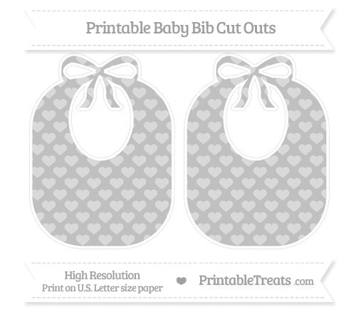 Free Silver Heart Pattern Large Baby Bib Cut Outs