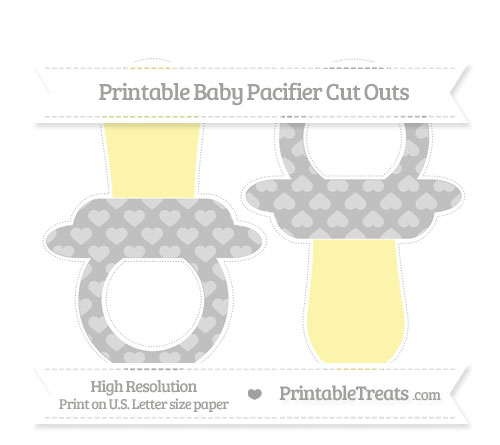 Free Silver Heart Pattern Large Baby Pacifier Cut Outs