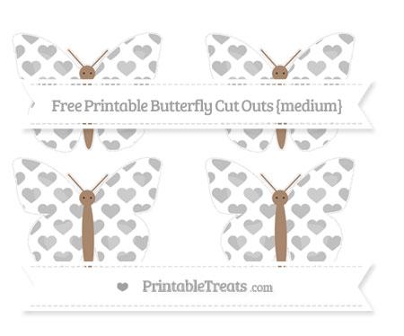 Free Silver Heart Pattern Medium Butterfly Cut Outs