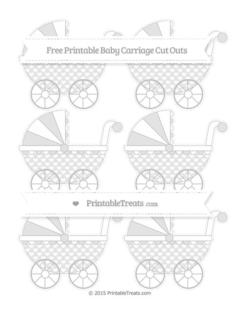 Free Silver Heart Pattern Small Baby Carriage Cut Outs