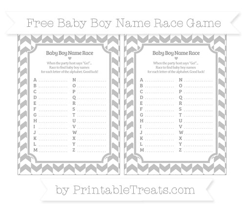 Free Silver Herringbone Pattern Baby Boy Name Race Game