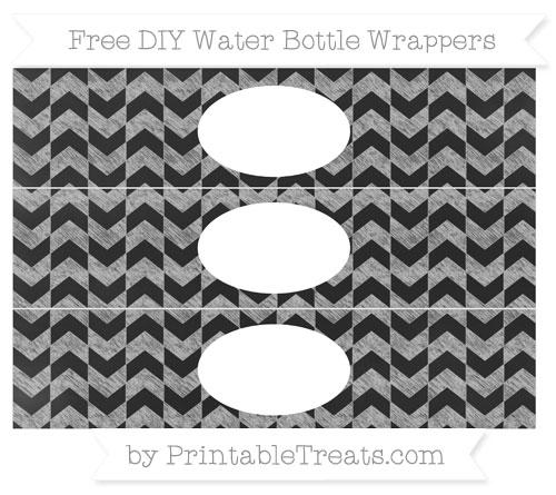 Free Silver Herringbone Pattern Chalk Style DIY Water Bottle Wrappers