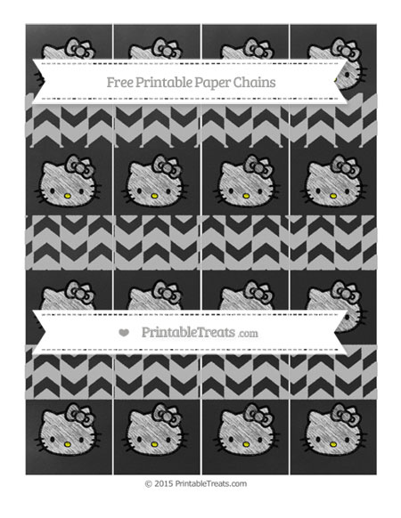 Free Silver Herringbone Pattern Chalk Style Hello Kitty Paper Chains