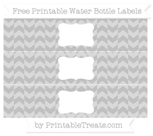Free Silver Herringbone Pattern Water Bottle Labels