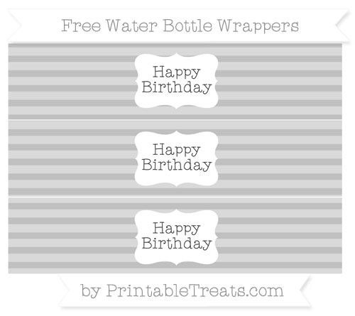 Free Silver Horizontal Striped Happy Birhtday Water Bottle Wrappers