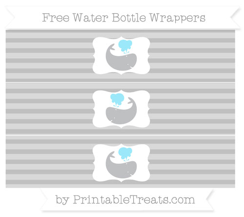 Free Silver Horizontal Striped Whale Water Bottle Wrappers