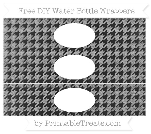 Free Silver Houndstooth Pattern Chalk Style DIY Water Bottle Wrappers