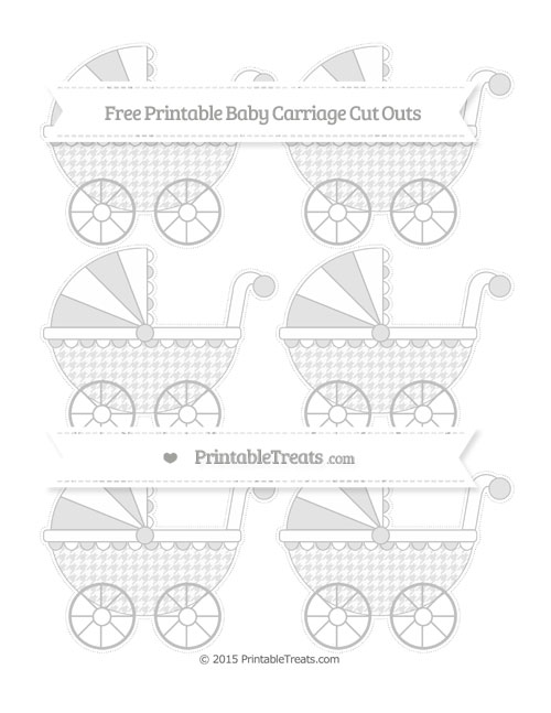 Free Silver Houndstooth Pattern Small Baby Carriage Cut Outs