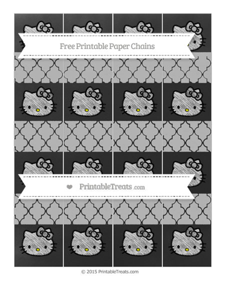 Free Silver Moroccan Tile Chalk Style Hello Kitty Paper Chains
