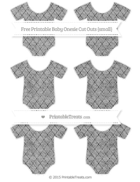 Free Silver Moroccan Tile Chalk Style Small Baby Onesie Cut Outs