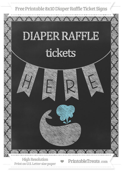 Free Silver Moroccan Tile Chalk Style Whale 8x10 Diaper Raffle Ticket Sign