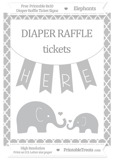 Free Silver Moroccan Tile Elephant 8x10 Diaper Raffle Ticket Sign