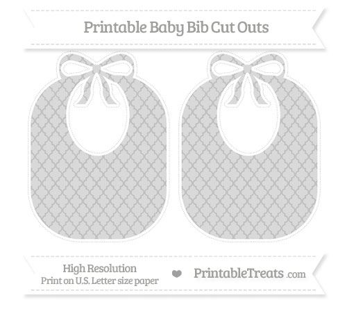 Free Silver Moroccan Tile Large Baby Bib Cut Outs