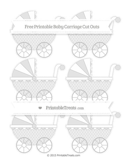 Free Silver Moroccan Tile Small Baby Carriage Cut Outs