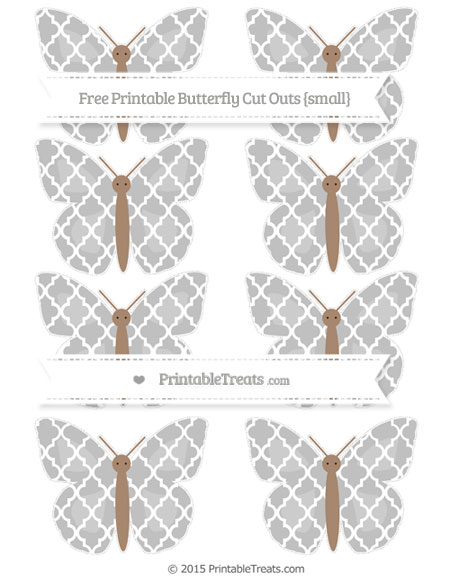 Free Silver Moroccan Tile Small Butterfly Cut Outs