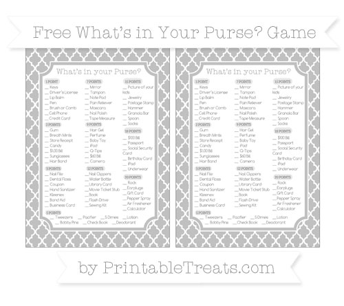Free Silver Moroccan Tile What's in Your Purse Baby Shower Game