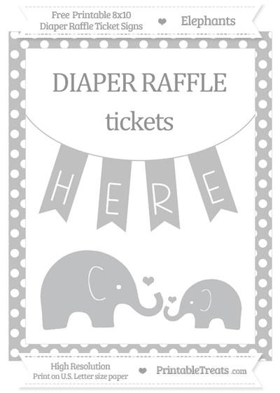 Free Silver Polka Dot Elephant 8x10 Diaper Raffle Ticket Sign
