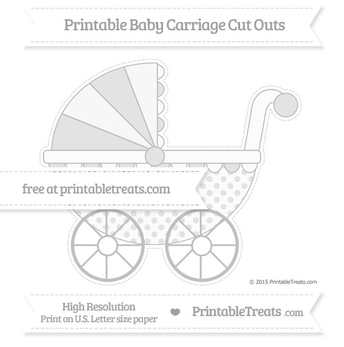 Free Silver Polka Dot Extra Large Baby Carriage Cut Outs