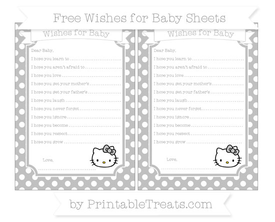 Free Silver Polka Dot Hello Kitty Wishes for Baby Sheets
