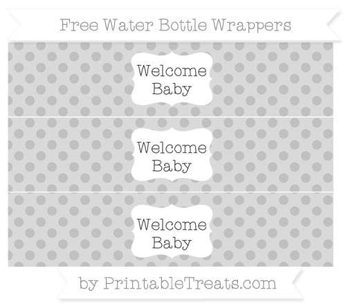 Free Silver Polka Dot Welcome Baby Water Bottle Wrappers