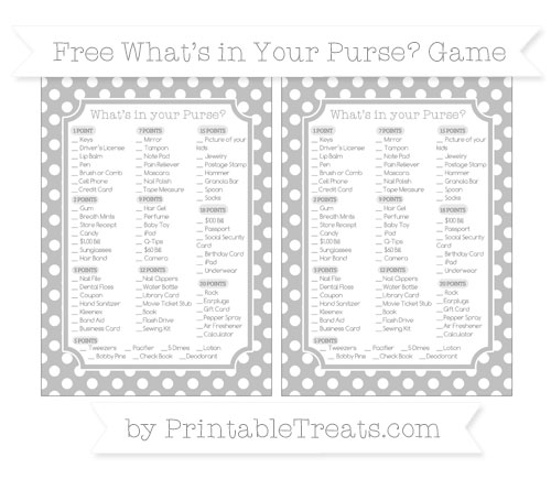 Free Silver Polka Dot What's in Your Purse Baby Shower Game