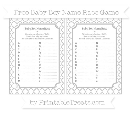 Free Silver Quatrefoil Pattern Baby Boy Name Race Game